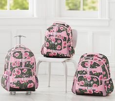 Mackenzie Olive Flower Heart Backpack   Pottery Barn Kids