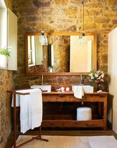 Rustikale Bäder, Traumhafte Badezimmer, Rustikale Innenräume,  Inneneinrichtung, Rustikal Modern, Deko Element Innenbereich, Badezimmer  Waschbecken, ...