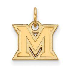 Sterling Silver w/GP LogoArt Miami University XS Pendant