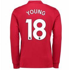 Manchester United Ashley Young 18 Koszulka Podstawowych 2017-2018 Długi  Rękaw f5b84e5df