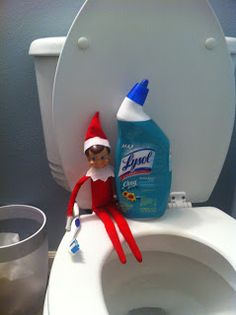 Elf on the Shelf Idea Scrubbing Toilet with Toothbrush