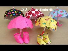 折り紙 カサ 立体 1枚の折り方(niceno1)Origami Umbrella use one sheet of paper - YouTube