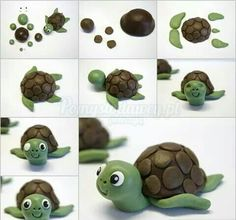 Creative Ideas – DIY Cute Fondant Turtle Cake Topping - Easy Crafts for All Polymer Clay Animals, Polymer Clay Crafts, Diy Clay, Polymer Clay Turtle, Fondant Cake Toppers, Fondant Cakes, Cupcake Cakes, Baking Cupcakes, Cupcake Toppers