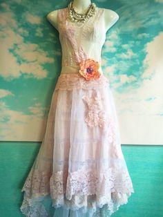 whisper pink & ivory appliqués organza by mermaidmisskristin bohemian lace layered slipdress feminine romantic art to wear