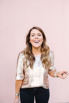 9bf11e8a J Crew Sequin Top / Holiday Outfit Idea via Glitter & Gingham / Charleston,  SC