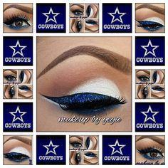 NFL Dallas Cowboys Eye shadow combination Dallas Cowboys Makeup, Dallas Cowboys Crafts, Dallas Cowboys Football, Dallas Cowboys Women, Cowboys 4, Football Moms, Cowboy Nails, Cowboy Pictures, Younique