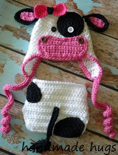 Crochet Moo Cow Hat with Matching Diaper Cover (any color made to order). $28 via Etsy.