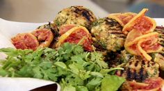 Chicken meatballs with preserved lemons and harissa relish- Yotam Ottolenghi Yotam Ottolenghi, Ottolenghi Recipes, Slow Cooked Lamb, Relish Recipes, Preserved Lemons, Chicken And Vegetables, Roasted Vegetables, Chicken Meatballs, Middle Eastern Recipes
