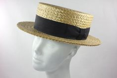 Mens 20s Antique Straw Boating Hat Edwardian by snootieseconds, $149.99