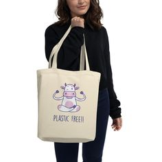 Say goodbye to plastic, and bag your goodies in this organic cotton tote bag. Cotton Tote Bags, Reusable Tote Bags, Plastic Free July, Save The Planet, Fabric Weights, Organic Cotton, Shopping, Fashion, Moda