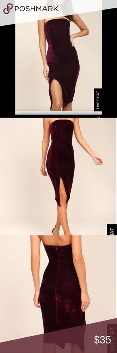 Burgundy Velvet Dress this dress is super cute. Its a deep burgundy color and velvet. Its only been worn once. It also has a slit on the side, not too far up. The first 3 pictures are from the website for an example of how it looks how. Very cute! Lulu's Dresses Midi