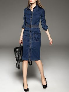 Blue V neck Long sleeve Casual Buttoned Denim Midi Dress