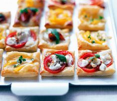 Puffy pastry (could sub for pita or flatbread) snacks - great for entertaining since you could do a variety of easy toppings