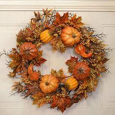 Glistening Pumpkin Fall Door Wreath with Crackled Fruit WR4854