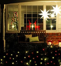 Love the star lanterns and the red reindeer