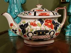 Staffordshire Pearlware Gaudy Dutch Teapot - Circa 1820 - Vivid Colors, Orange Flowers - Early 19th Century English Tea Pot