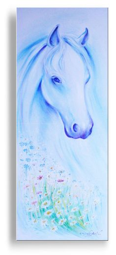 White Horse original painting oil on canvas by ARTECELESTIAL on sale at Etsy