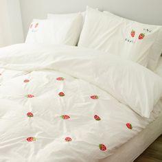 AmazonSmile: MZPRIDE White Bedding Fairy Girls Bedding Set Strawberry Quilt Cover Full,4Pcs: Home & Kitchen