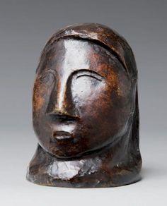 Pablo Picasso (1881-1973)  Tête de femme, 1906/1907. Bronze à patine brune nuancée. Signé à l'arrière au niveau de la base. Hauteur: 11.5 cm...