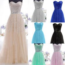 New Beaded Long Women Formal Evening Bridesmaid Dresses Party Prom Ballgown Long