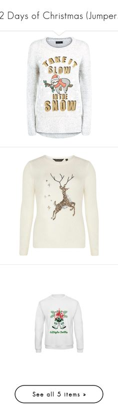"""""""12 Days of Christmas (Jumpers!)"""" by zaiee on Polyvore featuring tops, sweaters, grey top, grey sweater, glitter top, christmas sweaters, grey christmas sweater, white christmas sweater, sequin christmas sweater and white sequin top"""
