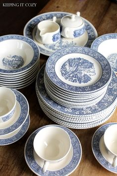 Currier And Ives Ironstone Dish set