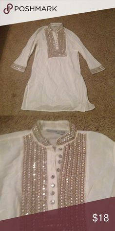 Chico sequined top Tunic length.  100% cotton.  Good used condition Chico's Tops Tunics
