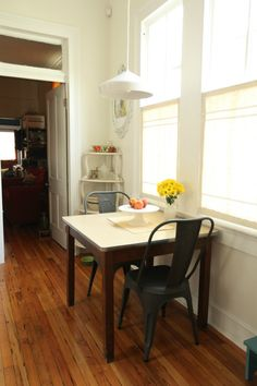Eat-in kitchen dinette (House*Tweaking house tour) | Bistro chairs, light fixture