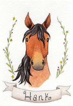 Horse Portrait, Custom Horse Painting, Horse Lover Gift, Equestrian Illustration Hey, I found this r Easy Horse Drawing, Horse Drawings, Cute Drawings, Animal Drawings, Drawing Art, Horse Illustration, Portrait Illustration, Illustration Artists, Digital Illustration