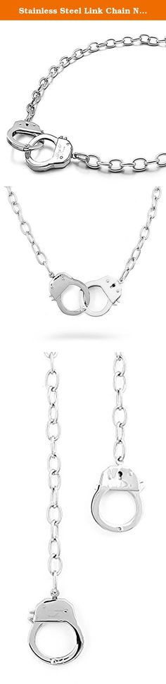 """Stainless Steel Link Chain Necklace With Two Handcuff Chain. The two handcuff charms on the necklace open and close just like real handcuffs!. rust-proof, and won't turn your skin green. Beautifully detailed 3-dimensional handcuff design Great for Men & Women. Width of Cuff: 28.5 mm necklace Length: 20""""."""