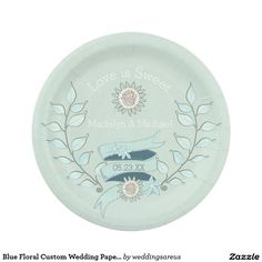 Blue Floral Custom Wedding Paper Plates  sc 1 st  Pinterest : diamond paper plates - pezcame.com