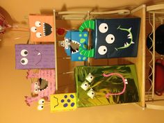 Little Monster decorations made from boxes and tissue boxes