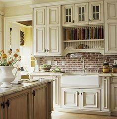 Farmhouse sink with faux brick backsplash Kitchen Cabinet Doors, Kitchen Cabinets, Cream Cabinets, White Cabinets, Kitchen Sinks, Colored Cabinets, Kitchen Island, Laundry Cabinets, Cabinet Refacing