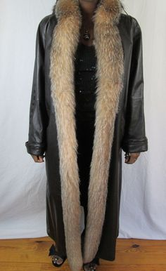 FERRARA Brown FOX FUR COAT Full Length LEATHER LONG JACKET M New Retail $2600 #FERRARACOLLECTION #BasicCoat