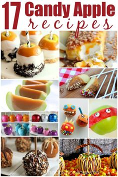 17 Candy Apple Recipes That Will Rock Your World This Fall. 17 Creative Candy Apple Recipes so good you won't want to share them with the kids! Fruit Recipes, Candy Recipes, Fall Recipes, Holiday Recipes, Dessert Recipes, Holiday Foods, Recipies, Snack Recipes, Caramel Candy