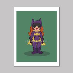 Purple Batgirl Cartoon Art Print by @Beck Seashols on Etsy, $5.00