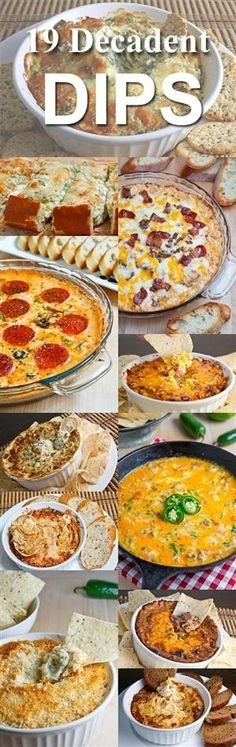 I LOVE DIPS! This is perfect 19 Decadent Dips. Some of the best dip recipes out there Appetizer Dips, Yummy Appetizers, Appetizers For Party, Appetizer Recipes, Tapas, Fingerfood Party, Snacks Für Party, Party Treats, Football Food