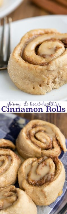 Heart Healthier Skinny Cinnamon Rolls - all the flavor without the guilt. These rolls have no butter but still have everything you love about cinnamon rolls.
