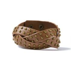 Faux Leather Braided Studded Cuff Bracelet