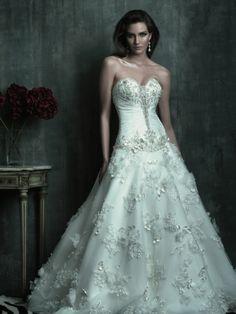 Organza Sweetheart Neckline Ball Gown Wedding Dress with ruching embroidery AC183 - Wedding Dress Shop