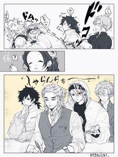 Saving this bc kyoujurou,giyuu,uzui,and sanemi look explicit in this art style Me Anime, Anime Demon, Anime Guys, Manga Anime, Anime Art, Slayer Meme, Demon Slayer, Comic Manga, Anime Comics