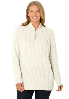 Plus Size Cable knit zip collar sweater