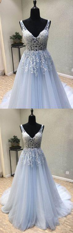 Light Blue V Neck Applique Tulle Inexpensive Long Prom Dresses, WG1045 #promdress
