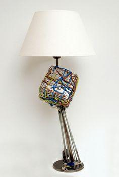 Borg Cube II Metal sculpture spaceship and lamp Science Fiction Art, Spaceship, Sculptures, Metal, Robot, Cube, Artist, Home Decor, Ideas