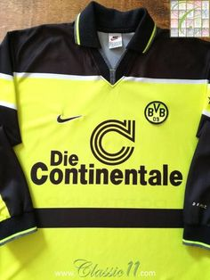 1ee43c37664 Official Nike Borussia Dortmund home long sleeve football shirt from the  1997 1998 season.