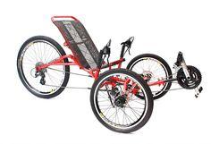 Triciclo com suspensão independente em todas as rodas, garante um pedalar mais suave.