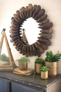 round recycled wooden children's shoe mold mirror