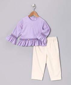 Take a look at this Lavender Smocked Top & Ivory Pants - Infant, Toddler & Girls on zulily today!