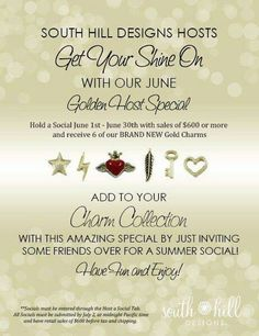 This is a great way to get 6 of our new charms free plus so many other fabulous rewards and free jewelry!!     Contact me for more info at southhilldesigns.com/kathy03