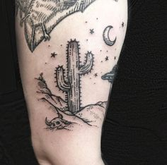 Cactus and skull by Sue Jeiven @ East River Tattoo, Brooklyn, NY